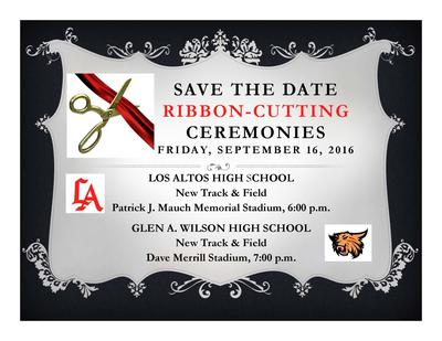 Come Join us on Friday September 16th at 6pm for the Ribbon Cutting Ceremony  for our new Track and Field.